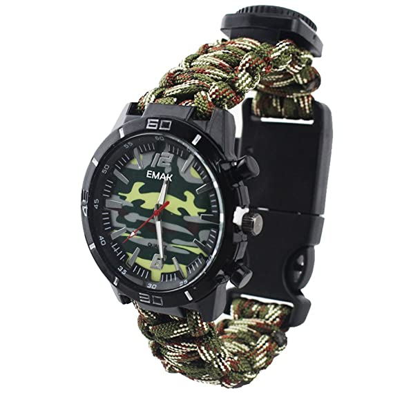 Fashion Outdoor Survival Men Watch - Paracord Rope Hand-Woven Strap Multifunction with Military Compass