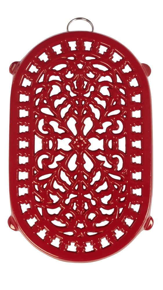Old Dutch Red Oblong Trivet, 9-3/4 by 6-Inch Old Dutch Int'l LTD 017RD