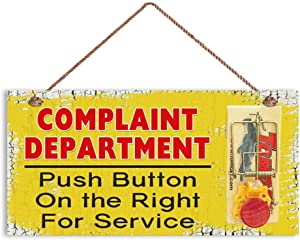 """AJHERO Humorous Sign, Complaint Department Funny Wood Sign, Mouse Trap Sign, Sign for The Office, 6"""" x 12"""" Sign(YJ-W164)"""