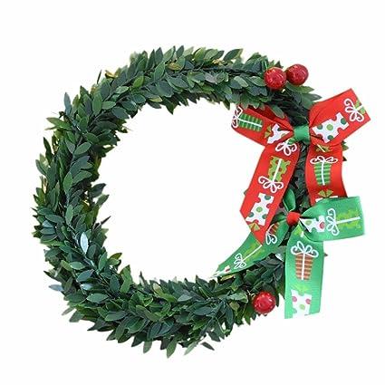 iusun christmas wreath xmas tree leaves garland ornaments hanging door wall decoration leaves hoop 8inch