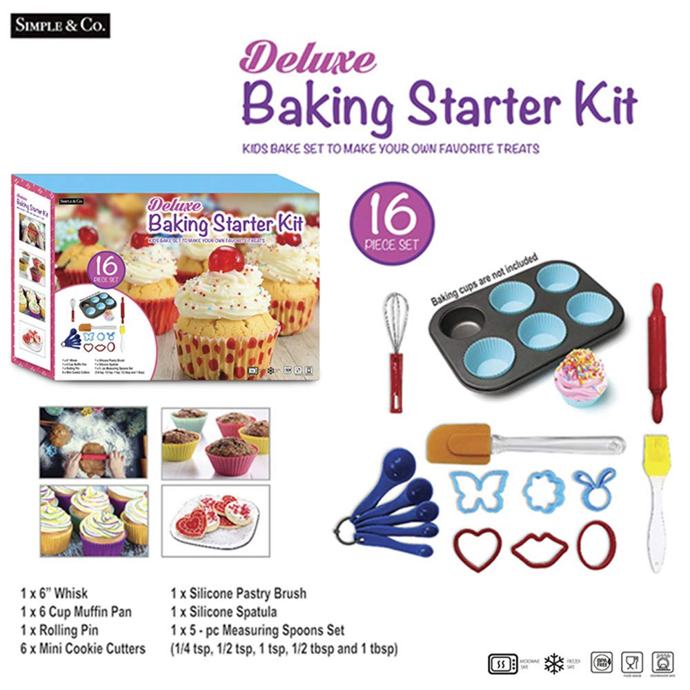16-Piece Kids Cooking Gift Set Baking Set Silicone Cupcake Liners, Cookie Cutters,Spatula,Mini Measuring Cup, Measuring Spoons,Whisk and Rolling Pin Volar KGI-2255