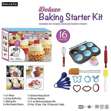 juguete para niños Juego de 16 piezas de moldes de silicona para cupcakes, cortadores de