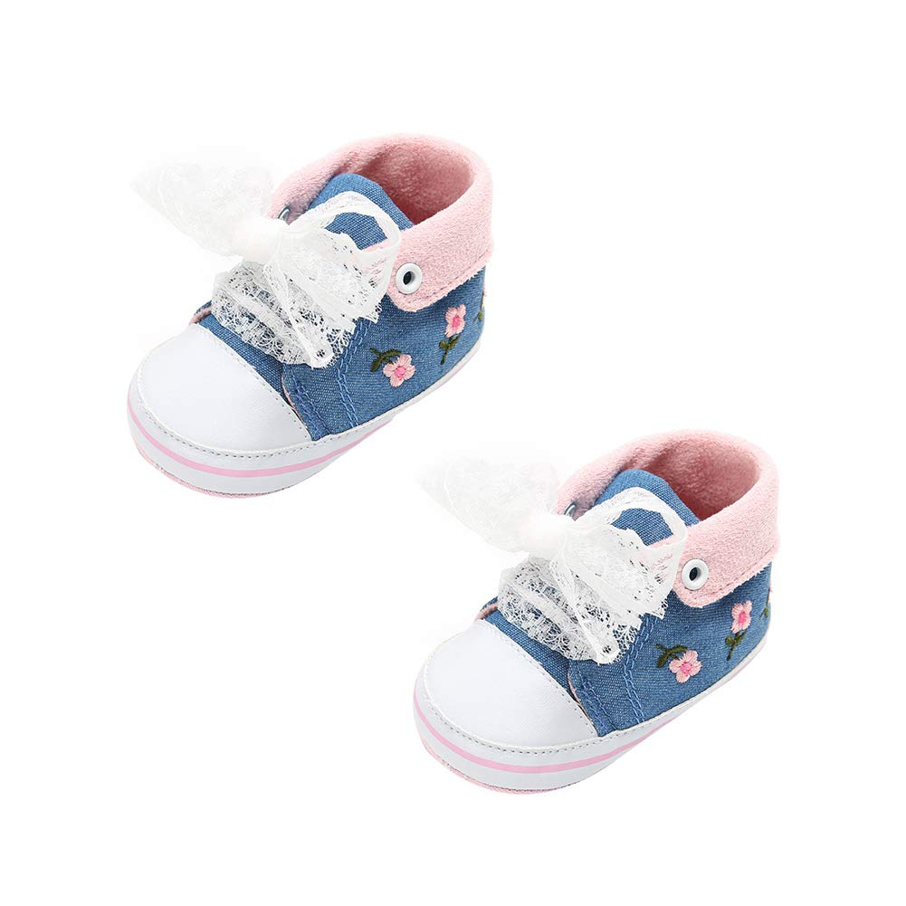 Alamana Fashion Flower Decor Infant Baby Girl Princess Soft Prewalker Toddler Shoes Gift Cowboy Blue 11cm