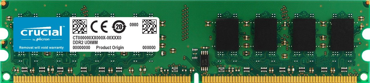 Crucial Technology CT12864AA800 1 GB 240-pin DIMM DDR2 PC2-6400 CL=6 Unbuffered Non-ECC DDR2-800 1.8V 128Meg x 64 Memory by Crucial (Image #1)