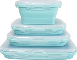 ECOmorning Set of 4 Collapsible Containers Food Storage Collapsible Bowls for Camping Collapsible Silicone Food Containers with Airtight Lids, BPA Free, Microwave, Freezer Safe, For Camping