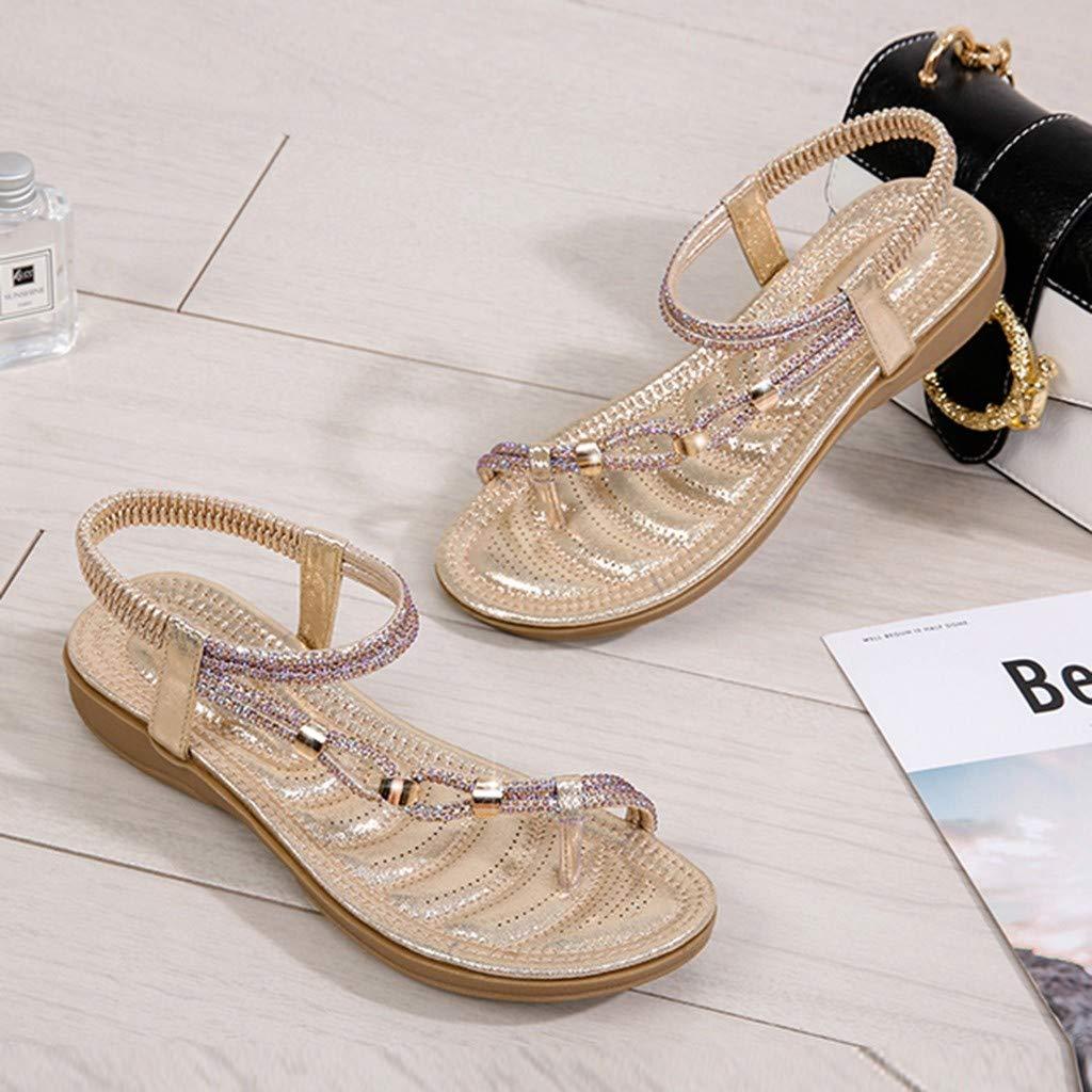 Moonker Women Shoes,Summer Women Ladies Crystal Flat Sandals Beach Flops Flip Casual Shoes