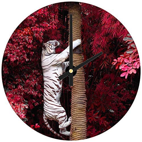 hiusan White Tiger Pink Tree Red Wood Wall Clocks Silent Decorative Living Room,Wall Clocks Non Ticking,for Kids Bedrooms,12in ()