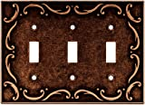 Brainerd 64279 Traditional French Lace Triple Toggle Switch Wall Plate/Switch Plate/Cover, Sponged Copper
