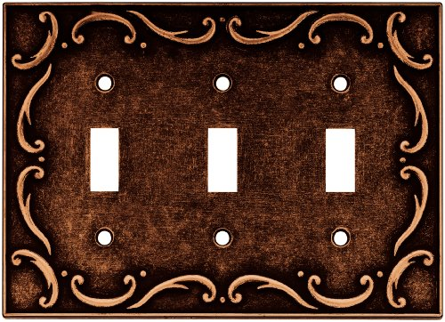 Brainerd 64279 Traditional French Lace Triple Toggle Switch Wall Plate / Switch Plate / Cover, Sponged Copper