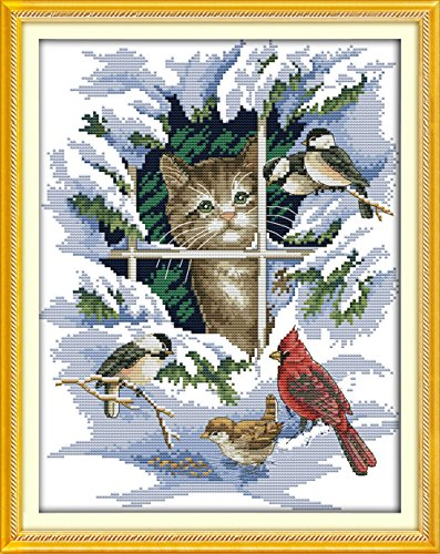 Sunny World Cross Stitch, Animals and Scenery, Kittens and Birds, 15- Inch By 18- Inch Kitten Cross Stitch