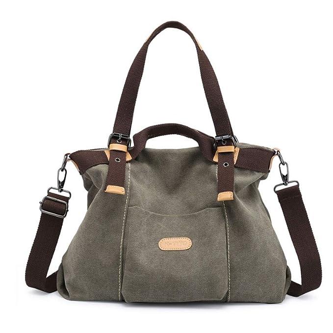 e78b64b21a Borsa da donna in tela borsa semplice retrò grande borsa tracolla portatile  borsa a tracolla (colore : Army Green, dimensioni : Onesize): Amazon.it: ...