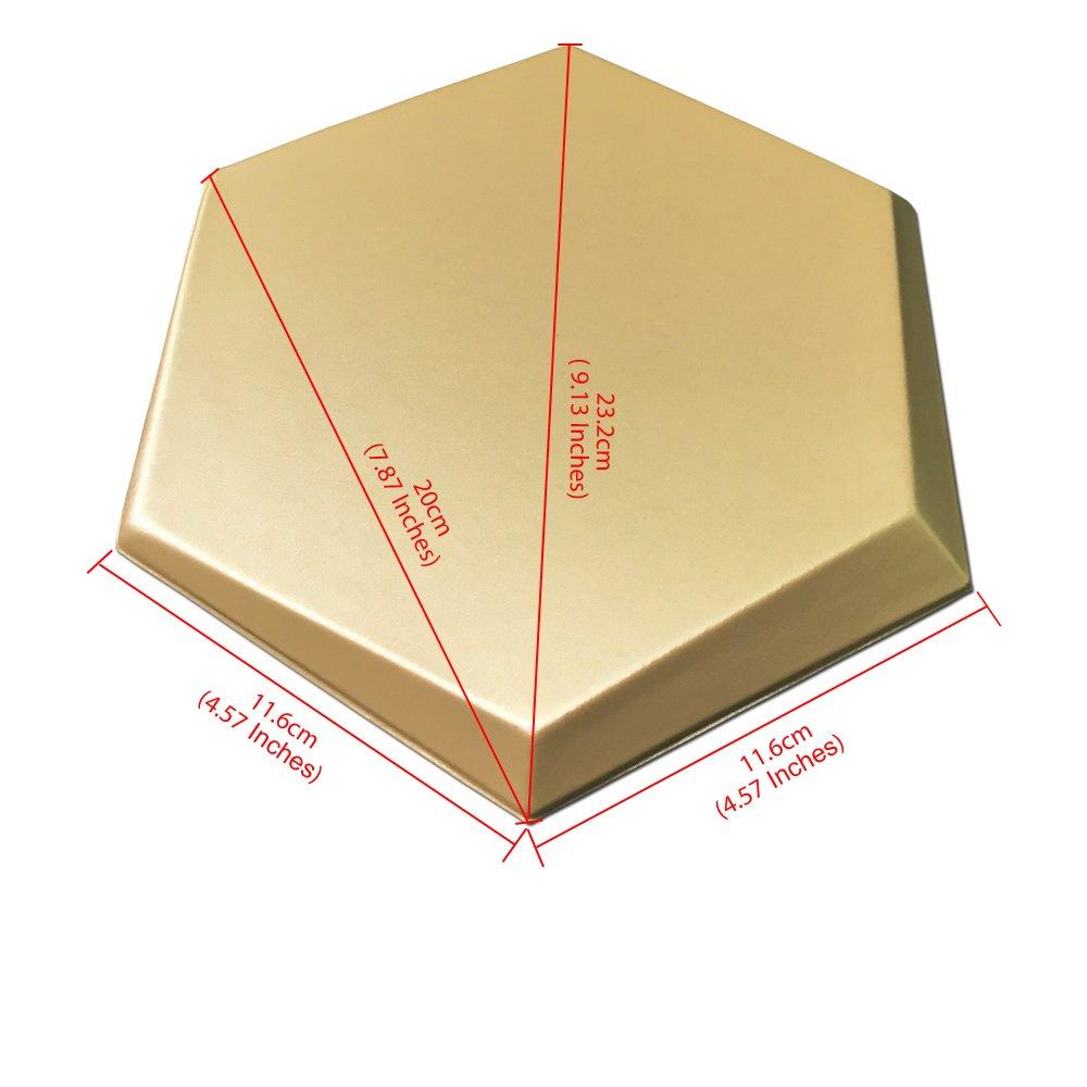 Art3d 20-Pieces Decorative 3D Wall Panel Faux Leather Tile, Golden Hexagon