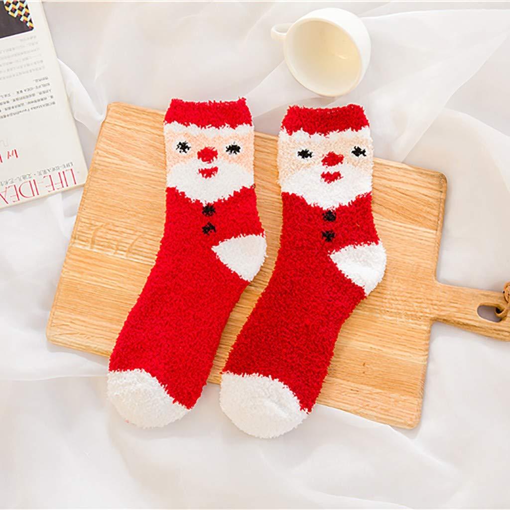 Marico Nahum Weihnachtssocken Xmas Fuzzy Cosy Slipper Coral Fleece Socken Winter Warme Weiche Dicke Haussocken F/ür Damen Herren M/ädchen