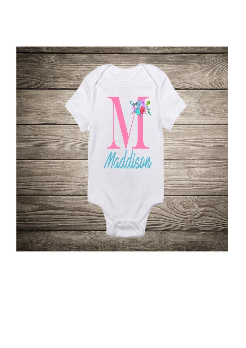 Monogram Baby Body Suit Shower Gift New Birthday God Daughter Custom Printed Bodysuit Mom Babys 1st