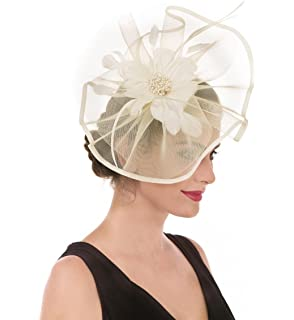 e303681ac655c SAFERIN Fascinator Hat Feather Mesh Net Veil Party Hat Flower Derby Hat  with Clip and Hairband