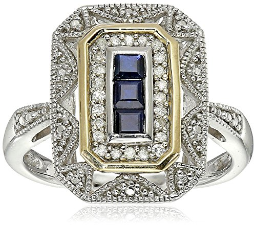 Sterling Silver and 14k Yellow Gold Blue Sapphire and Diamond Accent Art Deco Style Ring (1/10 cttw, I J Color, I3 Clarity)