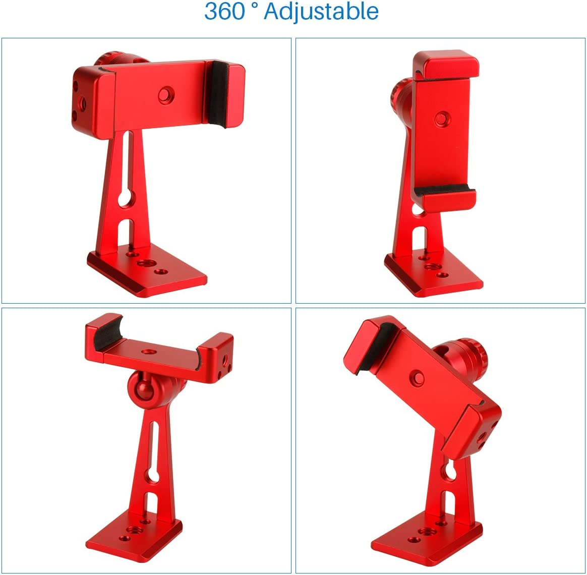 Ulanzi ST-04 Aluminum Phone Tripod Mount Adapter Vertical Video Bracket Cell Phone Clip 360 Degree Smartphone Video Tripod Clamp Compatible for iPhone 11 Xs X Samsung Android Instagram IGTV Livestream