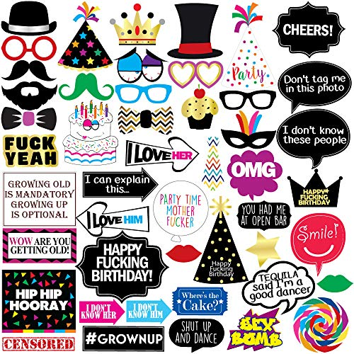 Funny Birthday Photo Booth Props - 47 Pieces - 21st - 30th - 40th - 50th - 60th - 70th - 80th - 90th