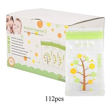 112pcs Bolsas de almacenamiento de leche materna para bebé ...