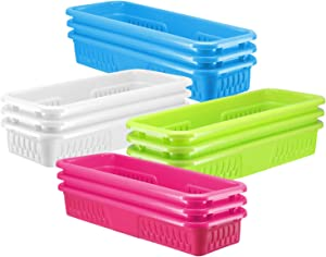 Bright Plastic Organizer Bins - 12 Pack – Long Colorful Storage Trays, Modular Baskets Holders for Classroom, Drawers, Shelves, Desktop, Closet, Playroom, Office, and More – 4 Colors - BPA Free