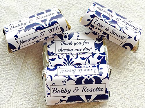 180 NAVY BLUE DAMASK THEMED Personalized Wedding Candy wrappers/stickers/labels for your HERSHEY MINIATURE CHOCOLATES (Personalized Favors) for your Party or -