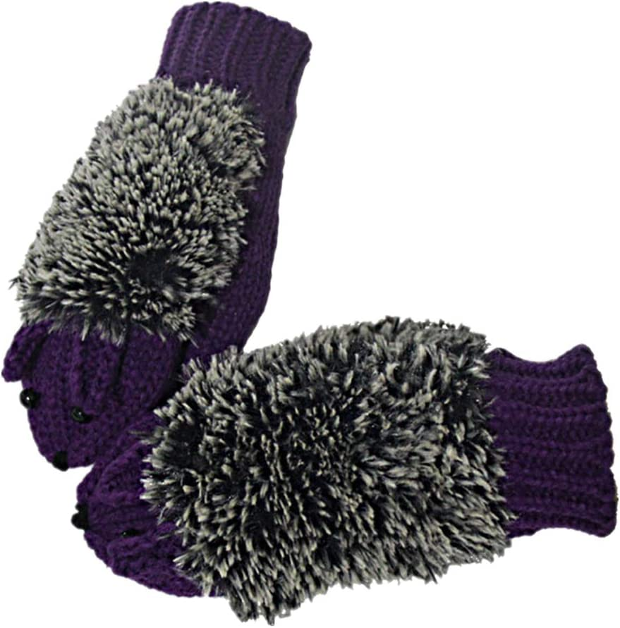 Pusheng Women Winter Cartoon Gloves Thick Knit Hottest Hedgehog Mittens (Purple)