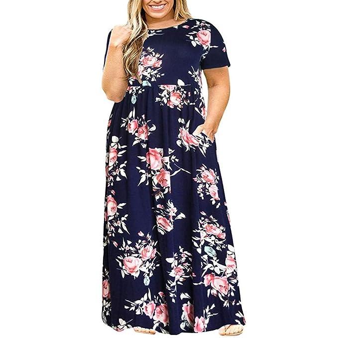 52945bc5ba RAINED-Women Plus Size Long Dress Short Sleeve Printed Dress O-Neck Boho  Maxi