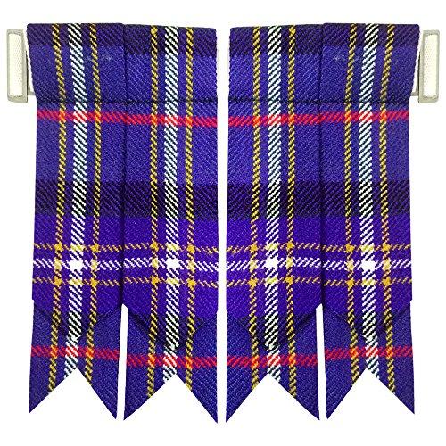Tartan Flashes (Scottish Kilt Hose Sock Flashes Various Tartan Garter Pointed Acrylic Wool Flashes (Masonic))