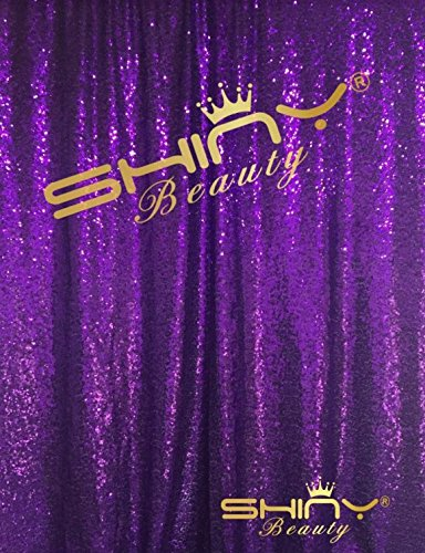 Purple Fabric Curtain (ShinyBeauty Sequin Backdrop 8FTx8FT-Purple,Sequin Curtain Backdrop Photo Booth Wedding Props Glitter Party Background Decorations (Purple))