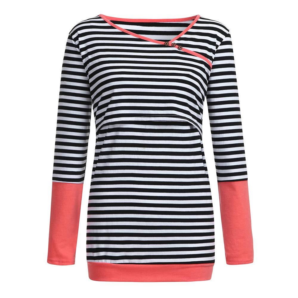 ALIKEEY Womens Nursing Long Sleeves Striped Tops Breastfeeding Sweatshirt T-Shirt