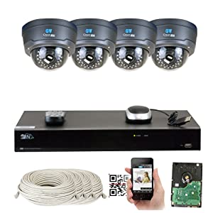 8 Channel H.265 NVR 4 x 4 M Pixel 2.8~12mm Lens IP Security Camera 2T HD
