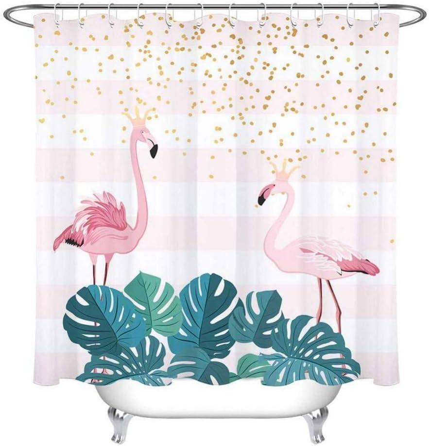 WZYMNYL Flamingo Crown Ducha Cortina Y Alfombra Rayas Mampara De Baño Tejido De Poliéster Impermeable Extra Largo para La Decoración De La Bañera: Amazon.es: Hogar
