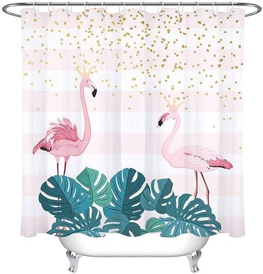 WZYMNYL Flamingo Crown Ducha Cortina Y Alfombra Rayas Mampara De ...