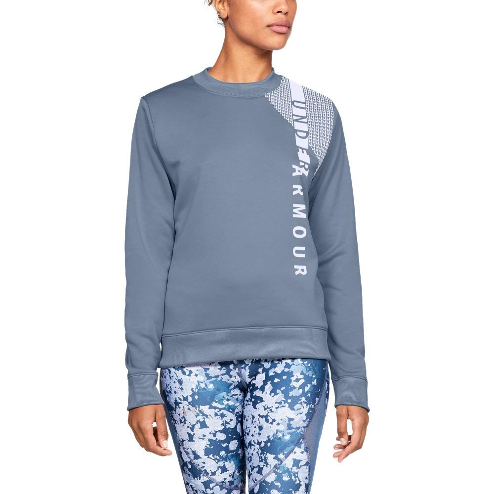 Under Armour Women's Synthetic Fleece Crew Word Mark, Washed Blue (420)/White, X-Small