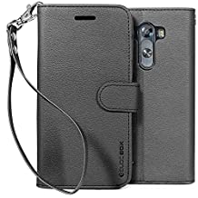 LG G3 Case, BUDDIBOX [Wrist Strap] Premium PU Leather Wallet Case with [Kickstand] Card Holder and ID Slot for LG G3, (Black)