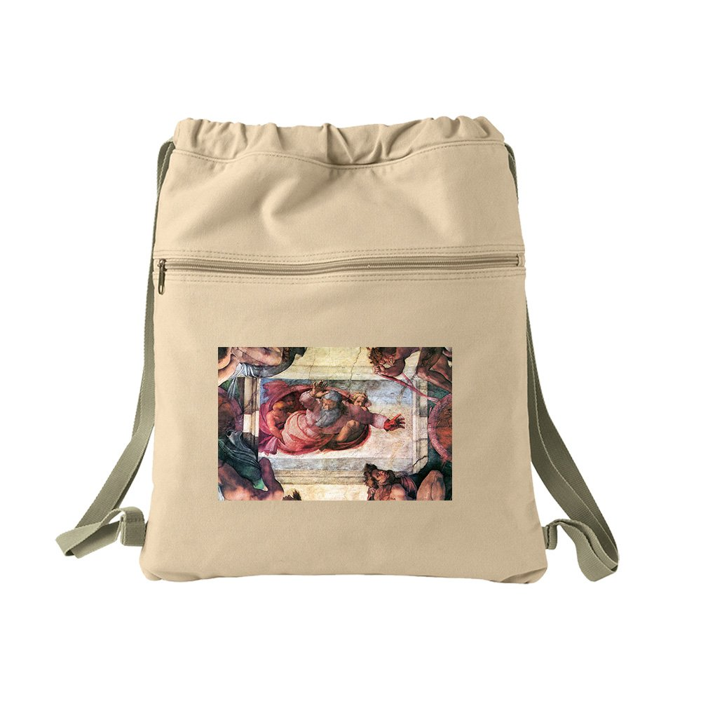 Creation Of Marine Animals (Michelangelo) Canvas Dyed Sack Backpack Bag
