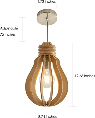 Nordic Wood Pendant Light Fixtures for Kitchen Modern Farmhouse Style,Hardwire for Kitchen Island Bedroom Dining Rroom,E26,6.56 Feet Cord Adjustable
