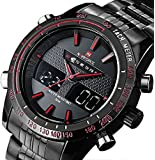 Readeel Sports Men Watch Stainless Steel Quartz Men Watch LED Dual Display Watch, Red