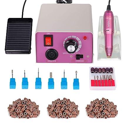 Torno para uñas Paquete máquina de pulido de uñas eléctrica bajo ruido y baja vibración Manicura Limas de uñas con 6 diamante uñas bits y 300 bandas ...