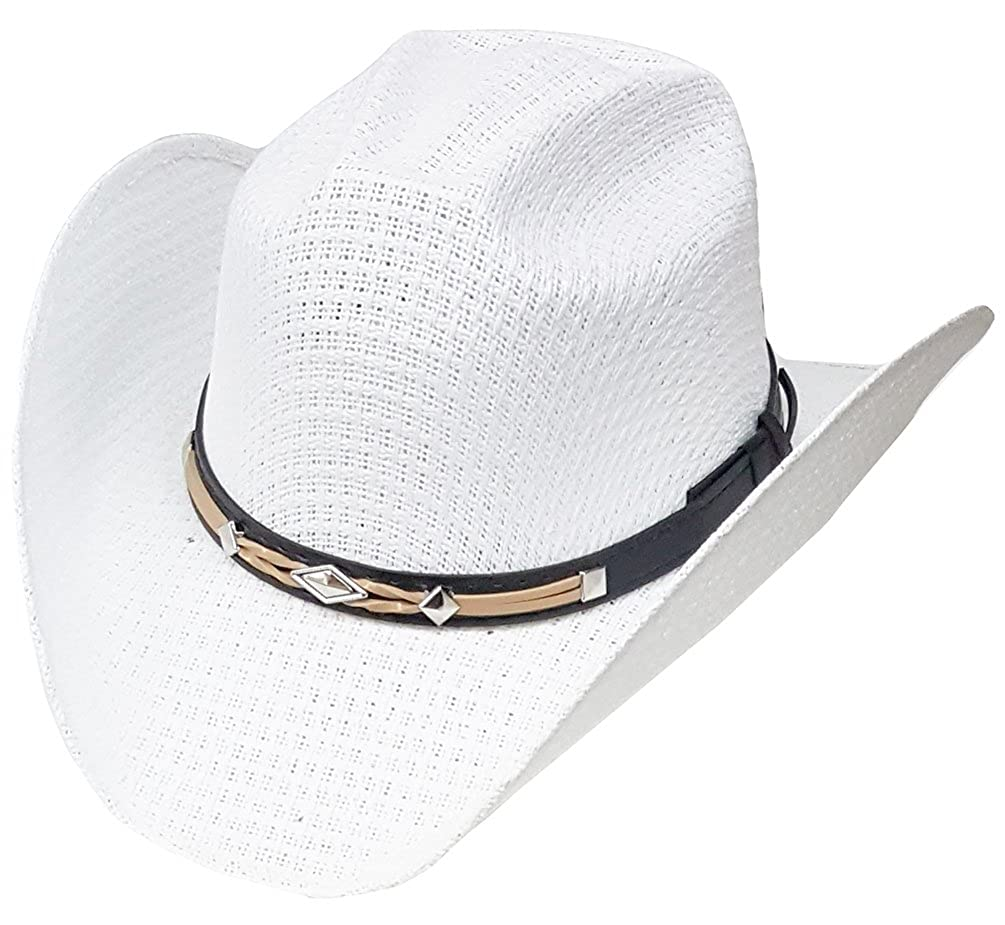 b3819f59c09ee Modestone Unisex Straw Cowboy Hat Leather-Like Hatband White  Amazon.co.uk   Clothing