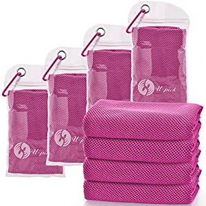 "Well-Being-Matters 61RDLNb6oPL._SS300_ [4 Packs] Cooling Towel (40""x 12""), Ice Towel, Microfiber Towel, Soft Breathable Chilly Towel for Yoga, Sport, Gym, Workout ,Camping, Fitness, Running, Workout & More Activities, Red"