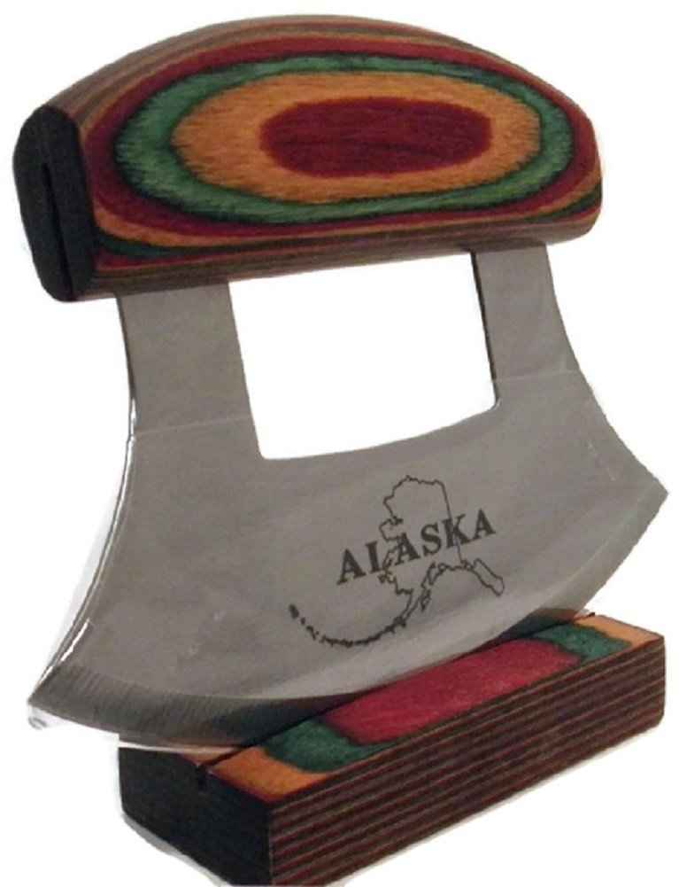 Multi-Colored Exotic Wood Handled Ulu with Stand 07695