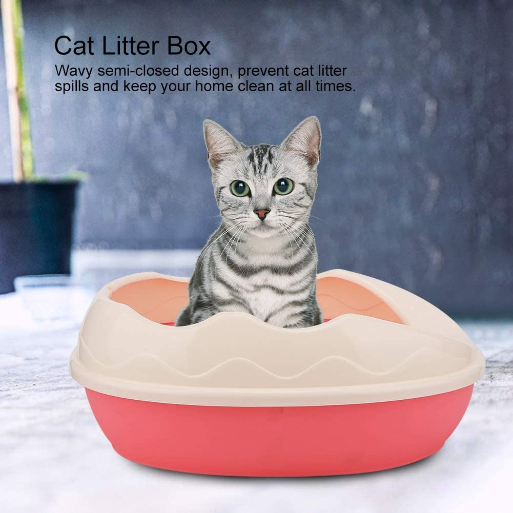 Blanco Pssopp Caja de Arena para Gatos para Mascotas semicerrada Bandeja de pl/ástico Resistente a derrames Inodoro Orinal C/áscara extra/íble con Pala Sin acumulaci/ón de residuos