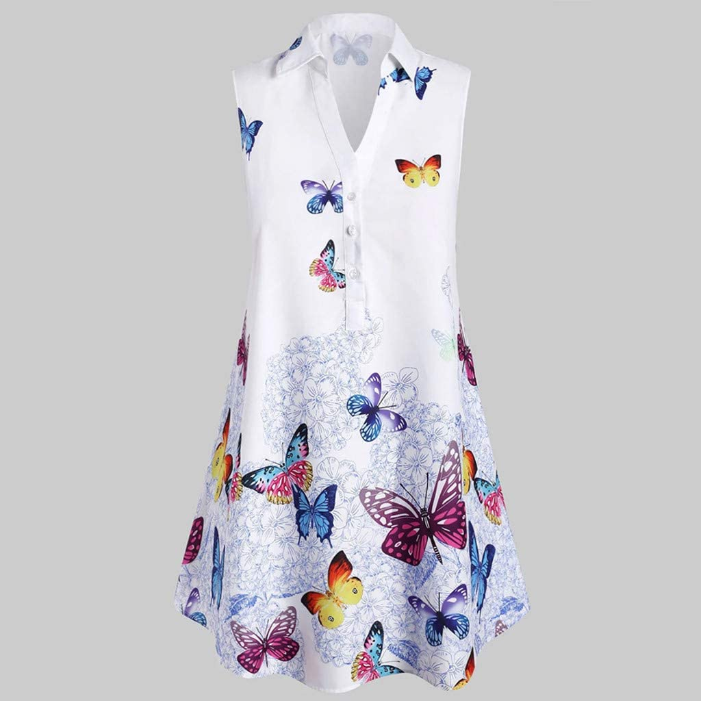 Womens Tunic Tank Top Collared V Neck Flowy Sleeveless Shirt Button up Butterfly Print Henley Tops Loose Fit Casual Blouse