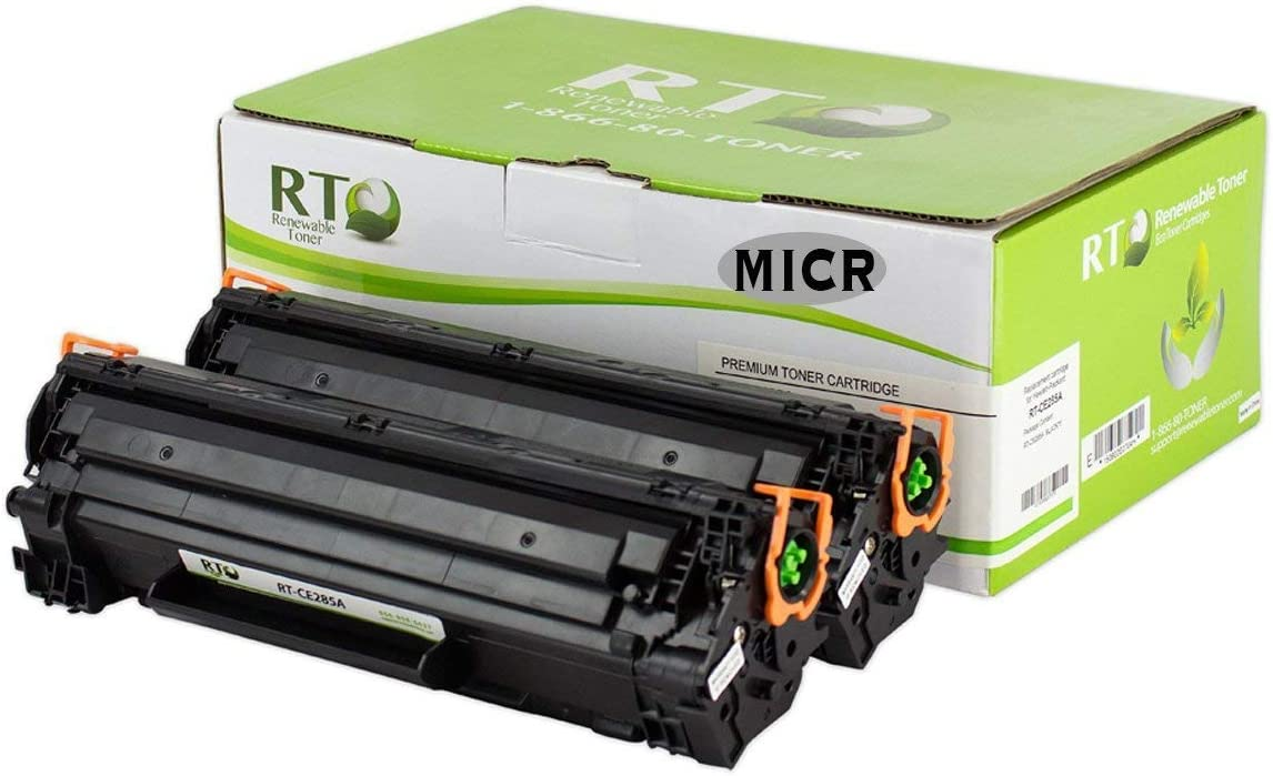 Renewable Toner Compatible MICR Toner Cartridge Replacement for HP 85A 285A CE285A Laserjet M1132 P1102w p1109w (2-Pack)
