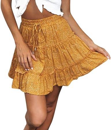 QinMMROPA Mini Falda de Volantes para Mujer, Falda Corta Sexy de ...