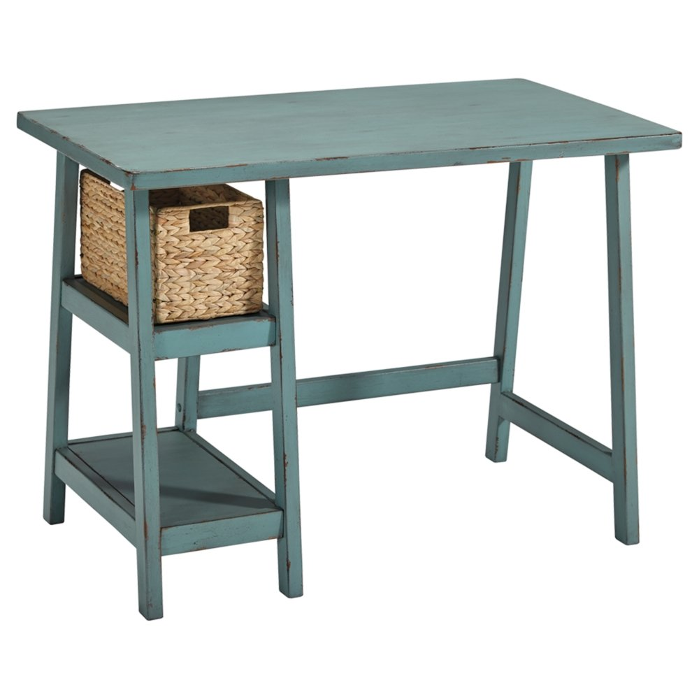 Ashley Furniture Signature Design - Mirimyn Small Home Office Desk - 2 Shelves - Includes Brown Basket - Distressed Antique Teal by Signature Design by Ashley
