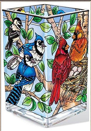 AMIA - Cardinal - Nested Birds Rectangular Vase / Votive Holder