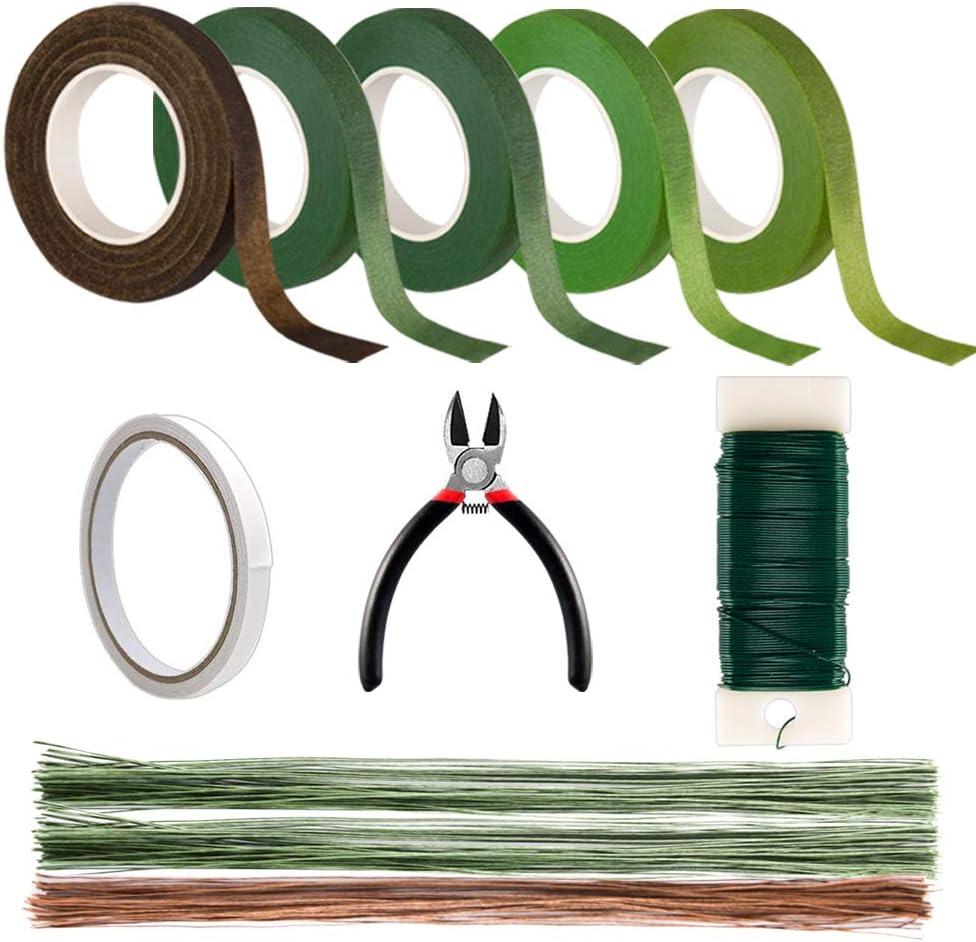 Kyrieval DIY Floral Arrangement Tools Kit with 5 pcs Floral Tape Floral Wire Cutter 22 Gauge Paddle Wire 26 Gauge Stem Wire Pin Bouquet