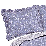 Collections Etc Floral Scroll Two-Tone with Scalloped Edges Reversible Pillow Sham, Lavender, Sham